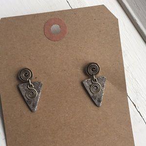 Silver tone arrows head style triangle earrings